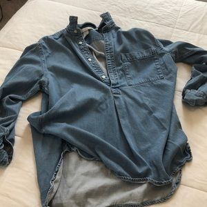Denim Button Up Pullover